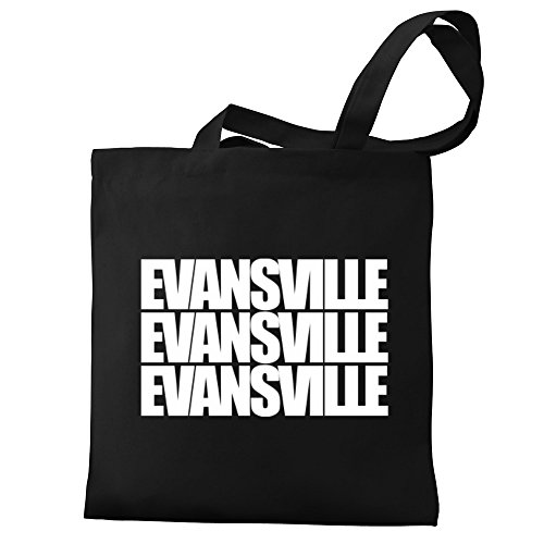 Eddany three Tote Eddany Evansville Canvas words Evansville Bag POWqB456