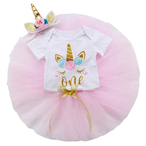 Costume Unicorn 1st Birthday Baby Girl Outfit Newborn Romper Bodysuit Tops+Tutu Party Skirt Dress+Headband Clothes Set (18-24 Months, Unicorn) ()