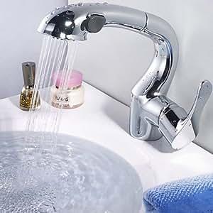 Grifos para lavabo–Clásico–, estilo contemporáneo con ducha extraíble–Latón (cromo)