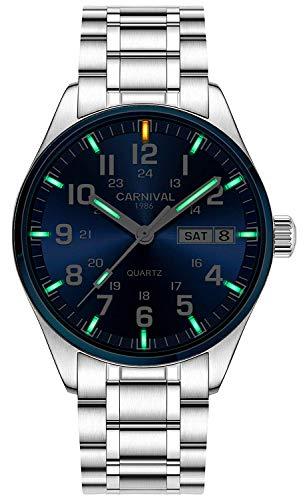 Swiss Brand Analog Quartz Watch Outdoor Military Tritium Gas Super Bright Self Luminous Blue Or Green (Blue Bezel-Green Light)