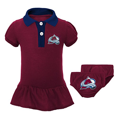 Outerstuff NHL Colorado Avalanche Newborn & Infant Little Prep Polo & Diaper Cover Set, 6-9 Months, Burgundy