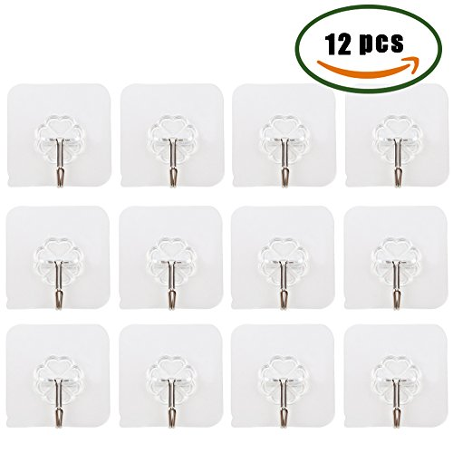 Dayree 12pcs 22Lb Adhesive Wall Hooks Heavy Duty Plastic Sticky Hangers Nail Free Ultra Strong Waterproof Removable Hanger for Home Office Bathroom Suitable on Glass, Wood, Granite, Ceramic (Hook Plastic Wall)