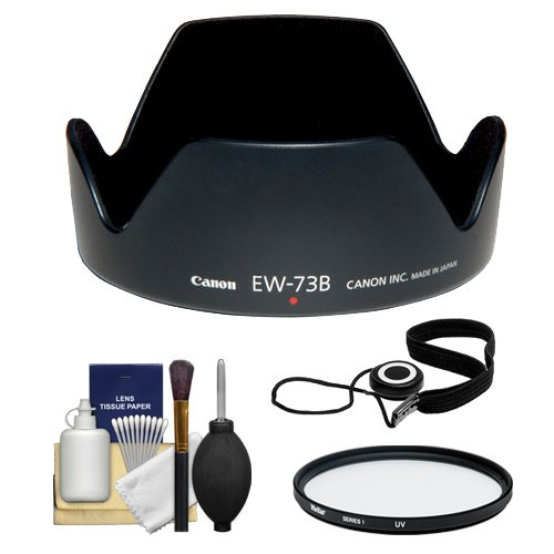 Canon EW-73B Lens Hood + 67mm UV Glass Filter + CapKeeper 2 Lens Cap Strap + Deluxe 6-Piece Lens Cleaning Kit for Canon EF-S 17-85mm f/4-5.6 IS ()