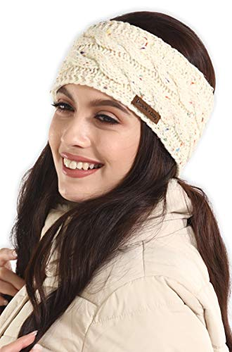 Womens Cable Knit Ear Warmer Headband - Winter Fleece Lined Headwrap by Brook + Bay (Ear Headband Women Warmer)