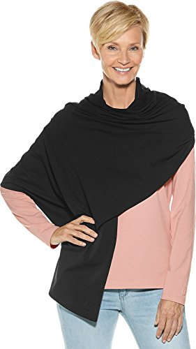Coolibar UPF 50+ Women's Everyday Beach Shawl - Sun Protective (One Size- Black)