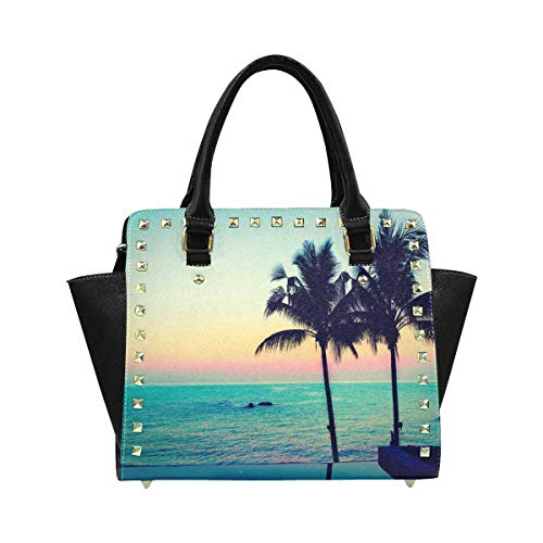 (InterestPrint Women's Silhouette-Palm-Tree Shoulder Bags Satchel Purses Handle Satchel Handbags)