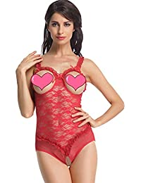 Women's One-Piece Teddy Bodysuit Sexy Lingerie Lace Nightie Open Cup Crotchless