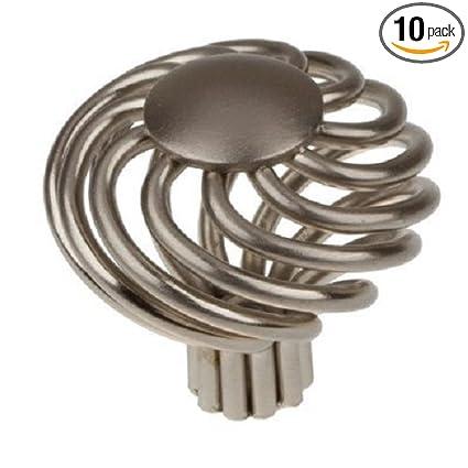 GlideRite Hardware 3072 SN 10 1.625 Inch Diameter Satin Nickel Round Birdcage  Cabinet Knob 10 Pack     Amazon.com