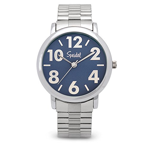 Expansion Band Watch Face (Speidel Men's Bold Face Watch Featuring Easy to Read Large Numerals, a Second Hand, 3ATM Water Resistance, Blue Dial and a Twist-O-Flex Stainless Steel Expansion Watchband - 603398202)