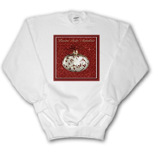 Beverly Turner Christmas Other Languages - Buone Feste Natalizie, Merry Christmas in Italian, Red Berries - Sweatshirts - Adult SweatShirt XL (ss_37016_4) Multi Language Merry Christmas