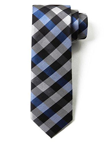 Blue Multi Color Tie (Origin Ties Fashion Gingham Plaid Men's Silk Skinny Tie Blue)