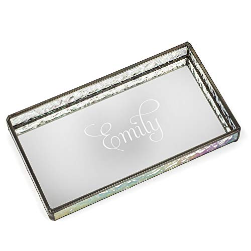 J Devlin TRA 101 ET201 Personalized Glass Jewelry Tray with Mirrored Bottom Engraved Monogram Decorative Dresser Vanity Organizer ()