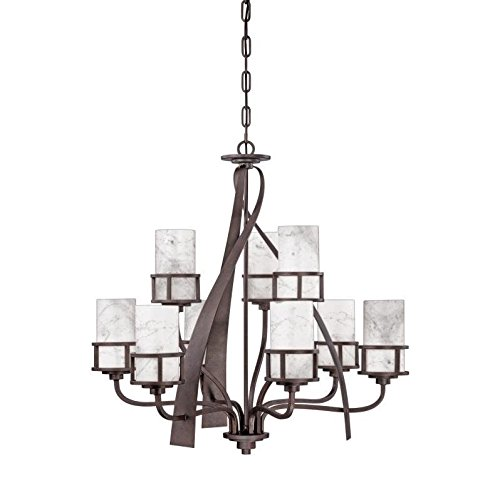 Quoizel KY5009IN Kyle Faux Alabaster Chandelier, 9-Light, 900 Watts, Iron Gate (35