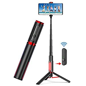 Phone Tripod,Tripod for iPhone Selfie Stick – All in One Extendable Cellphone Tripod with Bluetooth Remote for Android Phones & iPhone 11 Xs Plus 6/7/8 Lightweight Aluminum for Home & Travel
