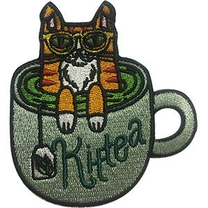 - Cats Kit-Tea - Sew Iron on, Embroidered Original Artwork - Patch - 2.8