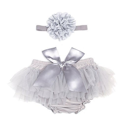 Tutu Bloomer - BORITAR Baby Tutus for Infant and Toddlers Girls, Tulle Ruffle with Bow Baby Bloomer Diaper Cover and Headband Set (S(0-6 Month), Grey)