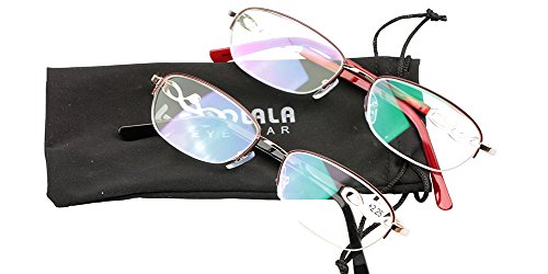 SOOLALA 2-Pairs Value Pack Womens Designer Fashion Half Frame Reading Glasses (2 Pairs Mixed Colors, 2.0)