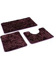 Badmat, set van 3 stuks, badkamertapijt, antislip, badmat, antislip, wasbaar, tapijt voor de badkamer, 80 x 50 cm, badmat + 50 x 40 wc-mat 50 x 40 cm, mat (paars-motief)