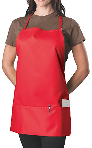 3 Pocket Adjustable Bib Apron, 27 inch, Red, pack of 60 by KNG