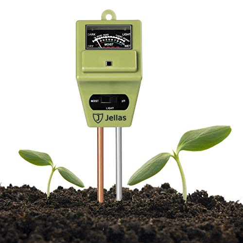 Jellas Soil Moisture Meter, 3-in-1 Soil pH Meter Moisture Sensor Sunlight pH Soil Test Kits for Home and Garden, Indoor/Outdoor Plants - Olive Green
