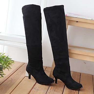 Boots For CN39 EU39 Knee Gray Leatherette Boots Women'S RTRY Shoes Black US8 Brown Slouch Buckle Over Winter The Fall Casual Boots UK6 Round Toe Dress OZWSBSqw