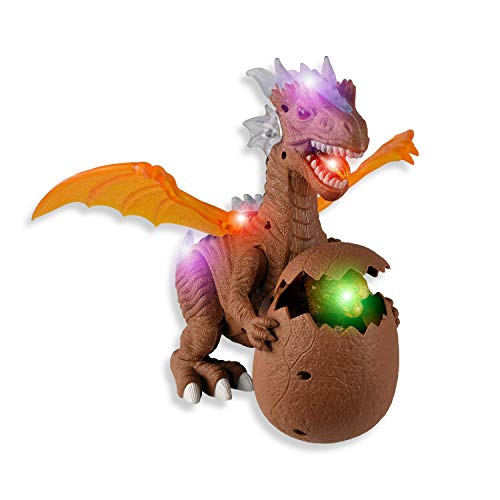 WolVol Walking and Roaring Dinosaur Action Toy with Cool Moving Wings Realistic Audio & Vibrant Colored Lights for Kids Boys & Girls