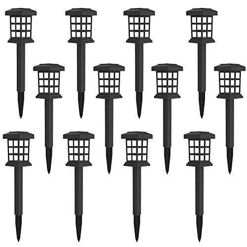 MAGGIFT 12 Pack Solar Pathway Lights Outdoor LED Solar Powered Garden Lights for Lawn, Patio, Yard, Walkway, Driveway (Square Solar Lights)