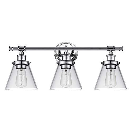 Globe Electric 51445 Parker 3-Light Vanity Light, Chrome with Clear Glass Shades