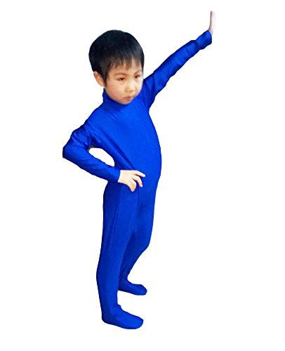 Spandex Body Suits (WOLF UNITARD Kids Lycra Spandex Bodysuit Dancewear Medium Blue)