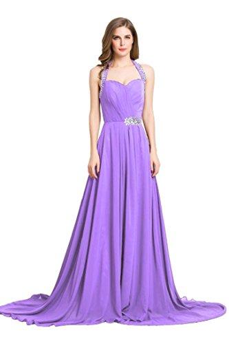 Emily Hellviolett Rüschen Sweep mit Beauty Schleppe formale lange Abendkleid schulterfreies vqdFp