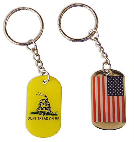 Novel Merk 2-Piece Patriotic Keychain Set Gadsen & American Flag Dog Tag