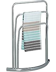 Relaxdays CURVY 3 szyny, rozmiar: 85 x 66 x 20 cm wieszak na ręczniki wykonany z metalu ze stali nierdzewnej wygląd jako stojak łazienkowy, srebrny, 20 x 66 x 85 cm