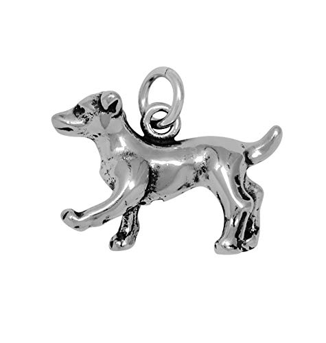 Raposa Elegance Sterling Silver 3D Jack Russell Terrier Charm (approximately 12 mm x 18.5 mm)