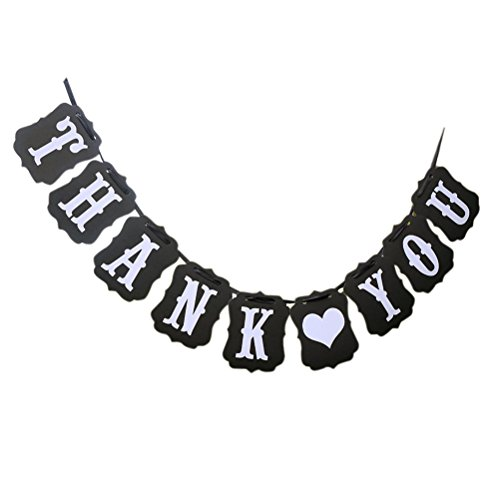 Thank You Banner (Pixnor Rectangle Chic Thank You Wedding Bunting Banner Photo Booth Garland Props Anniversary Bridal Party)