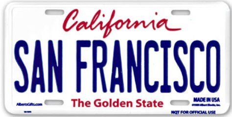 San Francisco License Plate Official size 6