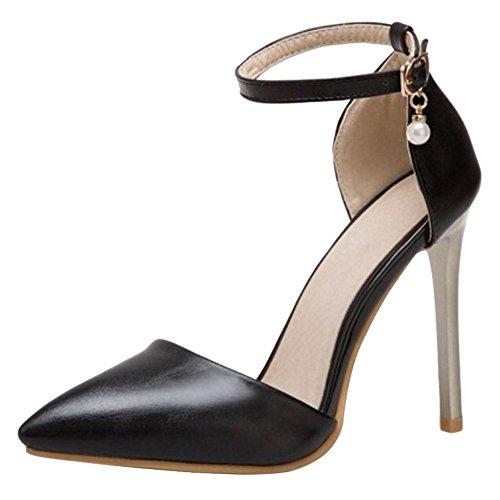 Coolcept Mujer Moda Tacón Black De 42 Sandalias Correa Tobillo Alto 6wq6r