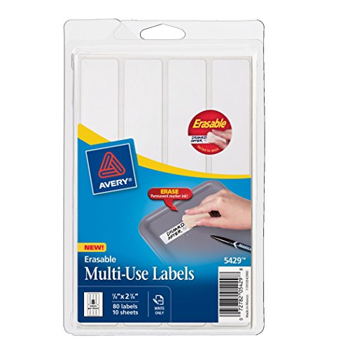 Avery Erasable Labels, Laser/InkJet, .875 x 2.875 inches, White, Permanent, Pack of 80 (5429)