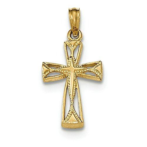 Croix Or poli 14carats avec triangle Embouts de la découpe Pendentif