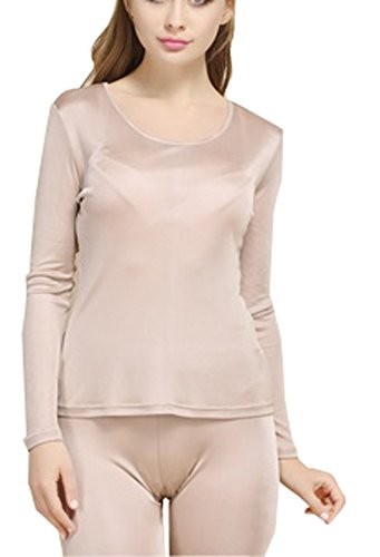 ec44b1991553 Fashion Silk Women s Thermal Underwear Sets Mulberry Silk Crewneck Long  Johns For Women Base Layer