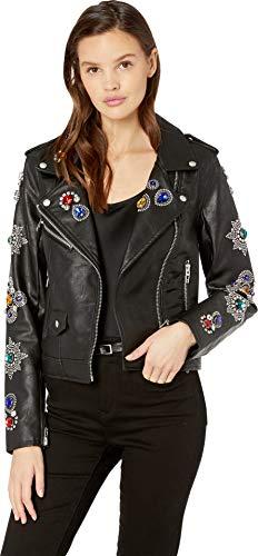 Clothes Gold Digger - Blank NYC Women's Embellished Vegan Leather Jacket in Gold Digger Gold Digger Medium