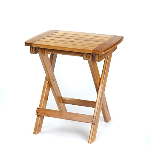ETECHMART Folding Bamboo Shower Bench 18 Inches Heavy - Counter Stools Bamboo