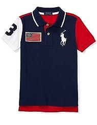 Ralph Lauren Polo Big Pony Polo USA Flag 2 Color Options 2T-20 (5, Navy)