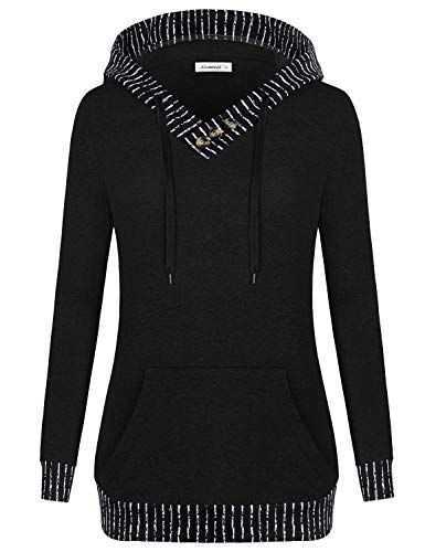 Sweaters Boutique Women - Casual Long Sleeve Hoody Women Leggings Sweatshirts for Teen Girls Basic Cotton Contrast V Neck Blouse Shirts Boutique Clothing for Autumn Winter,Black XL