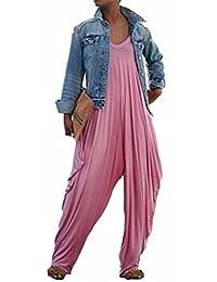 SUPEYA Women Asymmetrical V Neck Spaghetti Strap Loose Wide Leg Romper Jumpsuits