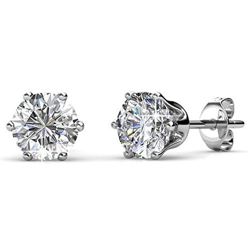 Cate & Chloe April Birthstone Stud Earrings, 18k White Gold Plated Earrings with 1ct Diamond Gemstone Swarovski Crystals, April Birthstone Jewelry for Women ()