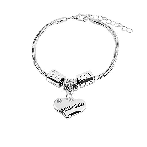 Bling Stars Family Love Clear Crystal Middle Sister Heart Charm Snake Chain Bracelet Family Members Jewelry Gift ()