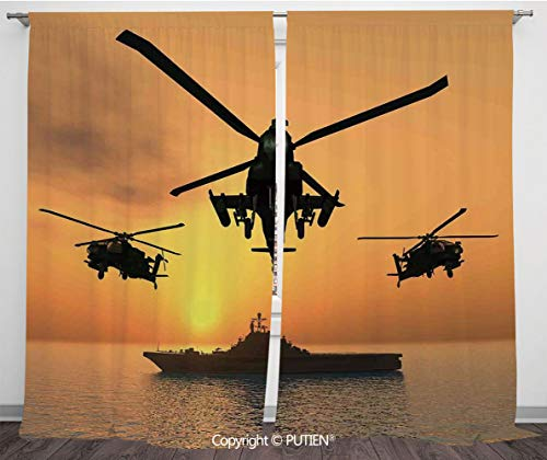 Satin Window Drapes Curtains [ War Home Decor,Battle Helicopter over the Ocean Sea and Aircraft Carrier on Combat Art Photo,Orange ] Window Curtain Window Drapes for Living Room Bedroom Dorm -