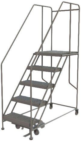 - Tri-Arc WLWP152424SL 5-Step Forward Descent Mobile Steel Work Platform with Handrails, Step Lock, 24-Inch x 24-Inch Platform
