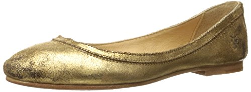 FRYE Women's Carson Ballet Flat, Gold Cracked Metallic Suede, 8 M US Cracked Metallic Leather