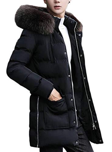 Hooded Fur Black Jacket Outerwear Parka Coats Padded Faux EKU Men Down 1Tqxt